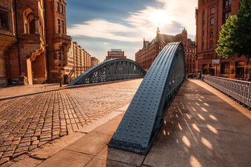 Historical bridge in the Hamburg Speicherstadt