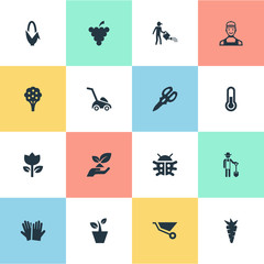 Vector Illustration Set Of Simple Gardening Icons. Elements Fruit, Blossom, Apple Timber And Other Synonyms Timber, Thermometer And Plougher.
