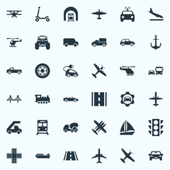 Vector Illustration Set Of Simple Transportation Icons. Elements Transport, Ladder Carrier, Sailing And Other Synonyms Automobile, Cop And Scooter.