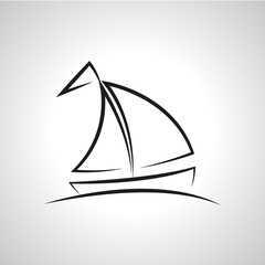 A simple vector illustration of a boat. Fountain sketch.