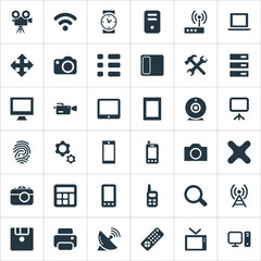 Vector Illustration Set Of Simple Device Icons. Elements Hardware, Settings, Switch And Other Synonyms Computer, Photographing And Tuning.