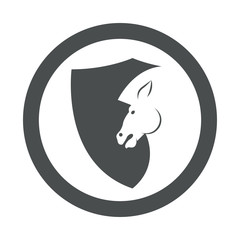 Icono plano cabeza caballo en escudo en circulo color gris