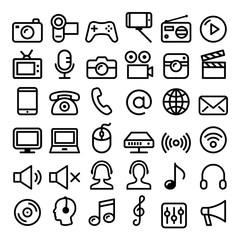 Communication, Media, modern technology web line icon set - big pack