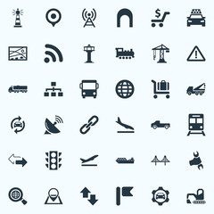 Vector Illustration Set Of Simple Transportation Icons. Elements Map Pin, Radio Tower, Stoplight And Other Synonyms Directions, Location And Excavator.