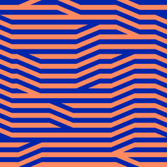 Abstract geometric seamless pattern. Orange and blue color combination. Clipping mask used.
