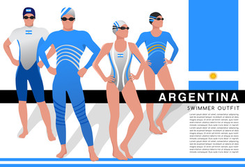 Male and Female Swimmers : Swimmers in National Swimsuits : Vector Illustration