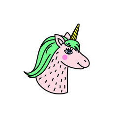 Cute handdrawn unicorn head.
