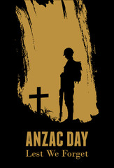 Silhouette of soldier paying tribute at a grave on Anzac day, vector