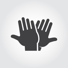High five icon. Black flat pictograph of two clapping hands - greeting, welcoming, celebrating symbol of successful interaction people. Vector web sign or button. Illustration on gray background
