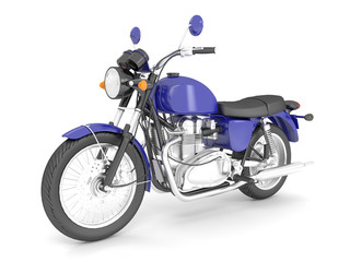3d render blue isolated classic motorcycle.