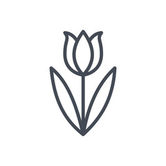 Easter holiday line icon tulip flower