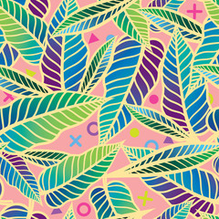 Colorful Seamless vector tropical pattern with leaves. Simple geometric abstract texture  Design for textile, decor, print