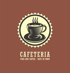 Cafeteria logo design concept with cup of coffee drawing