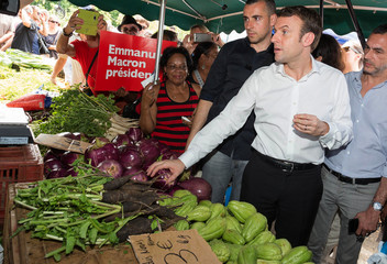 Emmanuel Macron, head of the political movement En Marche ! (Onwards !) and 2017 presidential candidate visits the Chaudron market in Saint-Denis as he campaigns on the French Indian Ocean island of the Reunion
