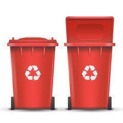 Red Recycling Bin Bucket Vector For Metal Trash. Opened And Closed. Front View. Sign Arrow. Isolated Illustration