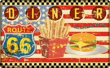 route 66 diner sign, grungy style, vector illustration