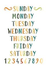 Handwritten grunge colorful days of the week