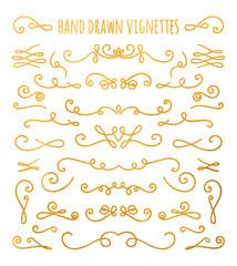 Set of gold textured hand drawn vignettes