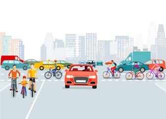 Autos und Radfahrer in der Stadt, Illustration