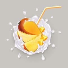 Mango in a milk splash. A realistic illustration of a mango and mango slices in a yogurt or milk. Fruit and yogurt. Vector illustration.