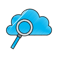 cloud computing with magnifying glass vector illustration design