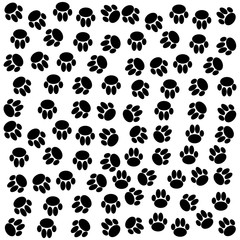 Dog paws background. Vector illustration.