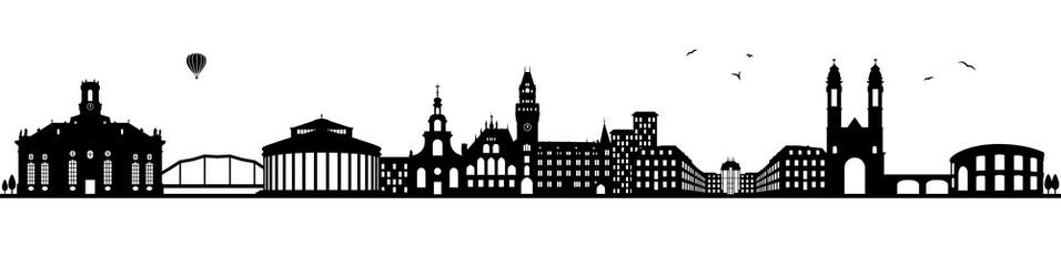 Saarbrücken Skyline schwarz