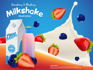 Strawberry and blueberry Milkshake illustration with milk splash and berries vector template