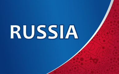Russian background, world of Russia soccer pattern, Soccer background with different icons