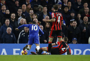 Bournemouth's Simon Francis fouls Chelsea's Eden Hazard and a penalty is awarded to Chelsea