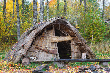 Stone Age hut of reeds in the woods