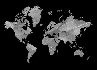 Horizontal vintage map of the world. Texture of the brushstroke. The black background.