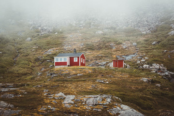 Red Cabins in the norwegian mountains