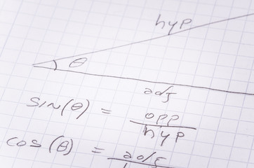 Sheet of Paper with Handwritten Trigonometrical functions