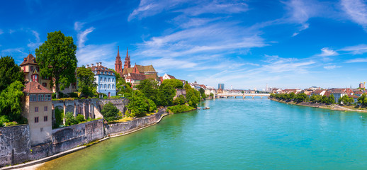 The Old Town of Basel with red stone Munster cathedral and the Rhine river, Switzerland. Fototapete