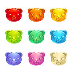 Cute jelly bears faces.