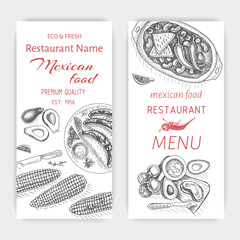 Vector illustration sketch - Mexican food. Card Menu mexican cuisine. vintage design template, banner.