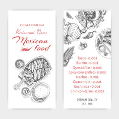 Vector illustration sketch - Mexican food. Card Menu mexican cuisine. vintage design template, banner.