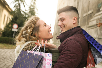 Couple in shopping together.