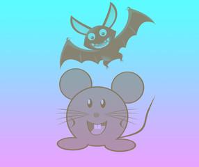 летучая мышь и полевая мышь