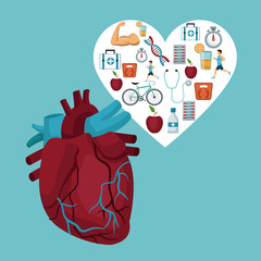 color background with heart organ with heart frame with icons health