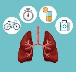 color background with respiratory system with icons of heath elements around