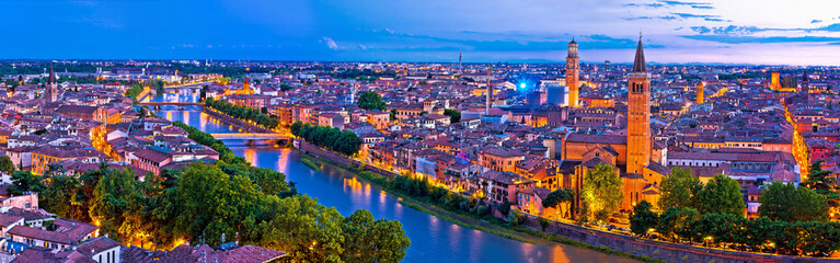 Printed kitchen splashbacks Eggplant Verona old city and Adige river panoramic aerial view at evening
