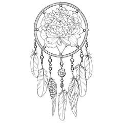 Hand drawn ornate Dreamcatcher with peony bud in contour.  illustration.