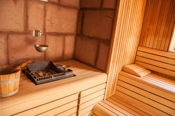 Closeup of stones on a sauna stove. Finnish oven