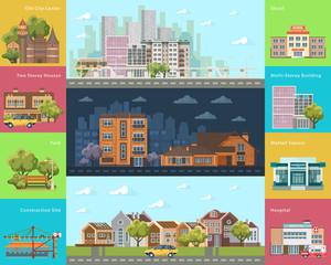 Big city concept. Infrastructure vector set