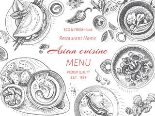 Vector illustration sketch - oriental food. Card menu asian vintage design template, banner.