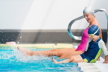 Lots of fun in swimming class