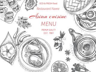 Vector illustration sketch - asian food. Card menu Dim Korean food.. vintage design template, banner.