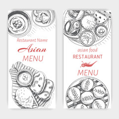 Vector illustration sketch - asian food. Card menu indian. vintage design template, banner.